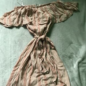 Rose gold and white off the shoulder summer dress
